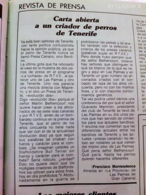 1986 – comments on Presa Canario